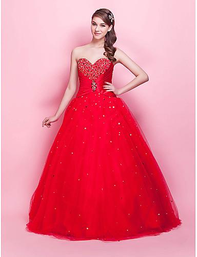 נשף נסיכה סטרפלס עד הריצפה טול ערב רישמי / בת מצווה שמלה עם חרוזים סיכה מקריסטל על ידי TS Couture®