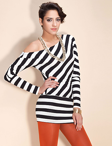 TS Striped Off-the-shoulder Blouse Shirt(More Color)