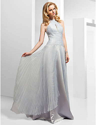 A-Line Princess High Neck Floor Length Organza Formal Evening Dress with Beading Pleats Split Front by TS Couture®