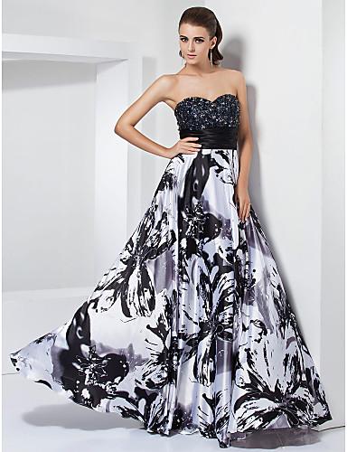 Uma linha princesa strapless sweetheart piso comprimento stretch cetim vestido de formatura com beading by ts couture®