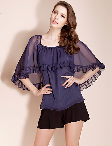 TS Shawl Style Flounced Blouse Shirt