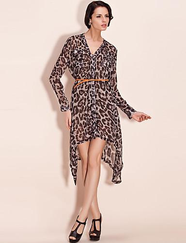 ts uregelmessig hem leopard print kjole