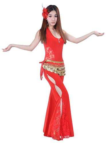 Trbušni ples Outfits Žene Seksi blagdanski kostimi Crystal Pamuk Čipka Bez rukávů Sudačko