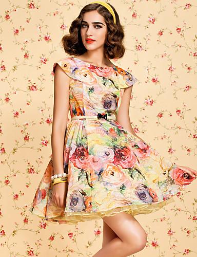 ts vintage floral impresso vestido inchado com cinto