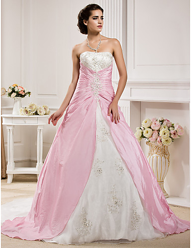 Ball gown strapless chapel train organza taffeta custom for Plus size pink wedding dresses