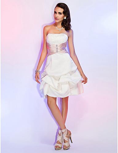 공주 끈없는 스타일 무릎 길이 새틴 칵테일 파티 / 홀리데이 / 웨딩파티 드레스 와 비즈 허리끈/리본 으로 TS Couture®