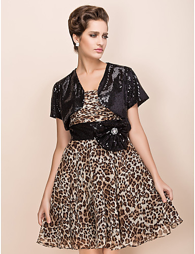 1db31548a675 Short Sleeve Sequined Party Evening Wedding Wraps With Shrugs 350319 2019 –  $22.99
