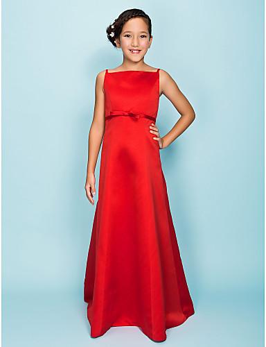 A-Line Princess Spaghetti Straps Floor Length Satin Junior Bridesmaid Dress with Bow(s) Sash / Ribbon by LAN TING BRIDE®