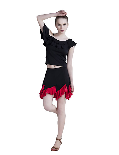 Dancewear Polyester With Ruffles Latin Top and Skirt For Ladies