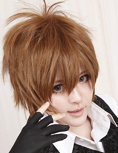 levne Cosplay a kostýmy-Reborn! Tsunayoshi Sawada Cosplay Paruky Pánské 12 inch Horkuvzdorné vlákno Hnědá Anime
