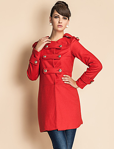 TS Military Style Golden Button Tweed Coat