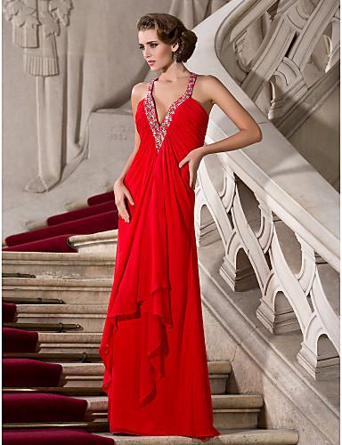 A-kroj Presvlačenje dekoltea Do poda Šifon Predivna leđa / Celebrity Style Formalna večer Haljina s Perlica po TS Couture®