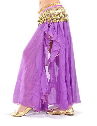 abordables Déstockage Mariages & Soirées-Danse du ventre Jupe Femme Entraînement / Utilisation Mousseline de soie Avant Fendu Taille basse Jupe / Spectacle