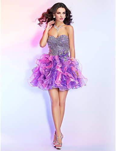 baljurk sweetheart korte / mini organza cocktail / prom jurk met ruches en pailletten