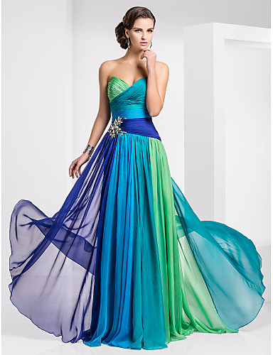 cheap Prom Dresses-Bohemian Style A-Line Sweetheart Neckline Sweep / Brush Train Chiffon Color Block Prom / Formal Evening Dress with Ruched / Pleats by TS Couture® / Color Gradient