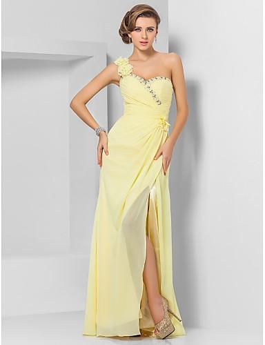 Eng anliegend Ein-Schulter Boden-Länge Chiffon Abiball / Formeller Abend Kleid mit Perlenstickerei Blume Vorne geschlitzt durch TS