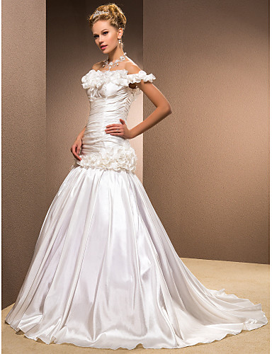 Mermaid / Trumpet Off Shoulder Sweep / Brush Train Taffeta Wedding Dress with Criss-Cross Flower Ruched by