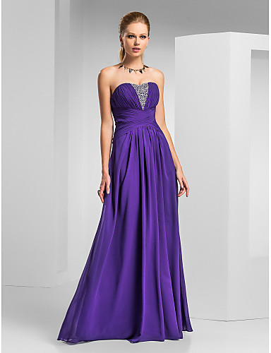 A-Line Sweetheart Floor Length Chiffon Prom / Formal Evening Dress with Beading Criss Cross by TS Couture®
