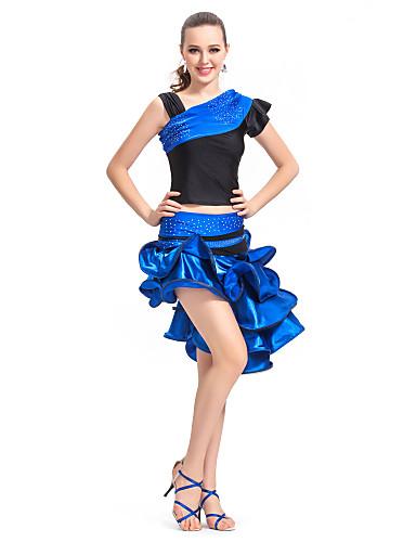 여성을위한 안무 복을 공단 / 스판덱스 성능 라틴어 댄스 의상