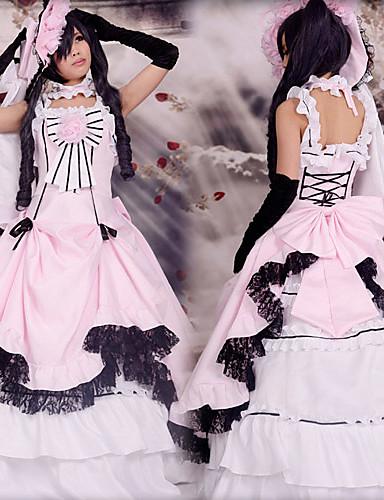 billige Anime Kostumer-Inspireret af Sort Butler Ciel Phantomhive Anime Cosplay Kostumer Cosplay Kostumer Patchwork Uden ærmer Kjole / Handske / Hat Til Herre / Dame