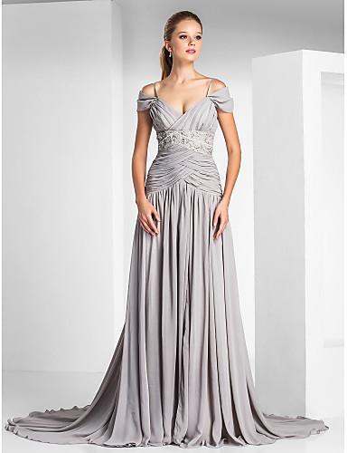 Corte en A Tirantes Spaghetti Corte Raso Charmeuse Evento Formal Vestido con Cuentas Recogido Frontal Abierto por TS Couture®