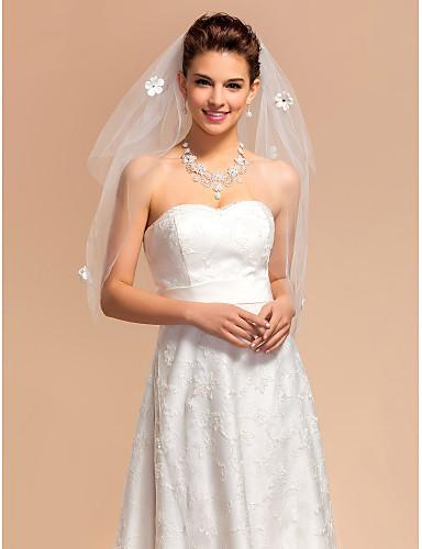Two-tier Cut Edge Wedding Veil Elbow Veils 53 Satin Flower 31.5 in (80cm) Tulle A-line, Ball Gown, Princess, Sheath/ Column, Trumpet/
