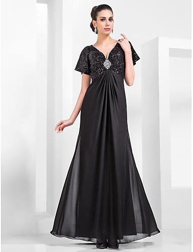 Eng anliegend V-Ausschnitt Boden-Länge Chiffon / Pailletten Vintage Inspirationen Formeller Abend Kleid mit Perlenstickerei / Drapiert durch TS Couture®