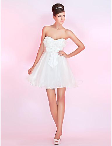 novia vestido corto de cóctel de satén / del baile una línea de / mini
