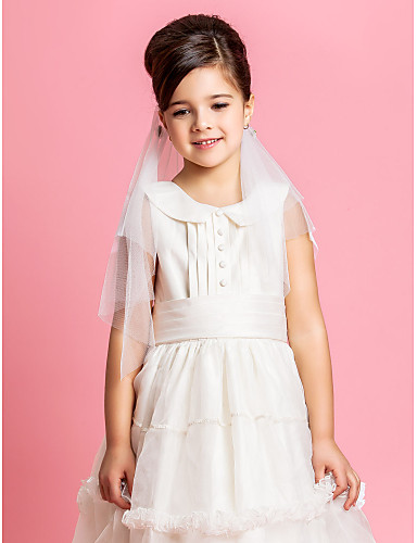 Elegante Two-tier Wedding Flower Girl velo raso con fiocco