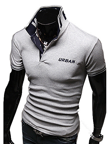 Men's Stand Embroidery Short Sleeve Fitted Polo Shirt