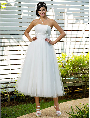 A-Line Princess Strapless Tea Length Tulle Wedding Dress with Beading Appliques Draping Ruched by LAN TING BRIDE®