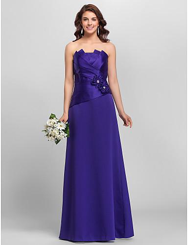 a-lijn prinses strapless spaghetti riemen vloerlengte satijnen bruidsmeisje jurk met bloem door lan ting bride®