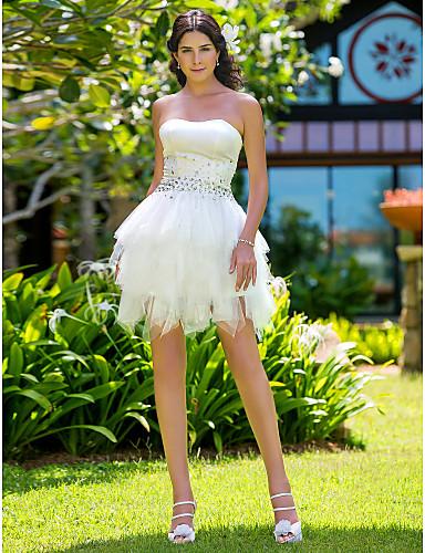 De Baile Sem Alças Curto / Mini Cetim Tule Vestido de casamento com Cristais de LAN TING BRIDE®