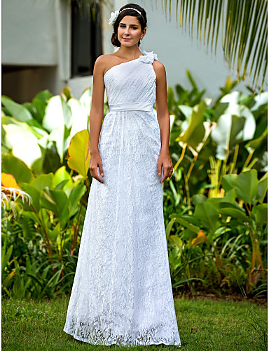 Fourreau / Colonne Une Epaule Longueur Sol Dentelle Robe de mariée avec Ceinture / Ruban Fleur Drapée sur le côté par LAN TING BRIDE®