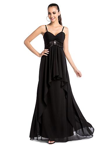Kroj uz tijelo V izrez Tanke naramenice Do poda Šifon Formalna večer Svečana priredba Haljina s Perlica Drapirano po TS Couture®