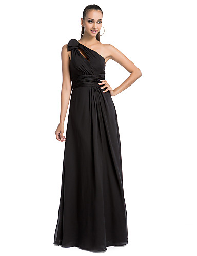 Sheath / Column One Shoulder Floor Length Chiffon Formal Evening Military Ball Dress with Draping Ruched Side Draping by