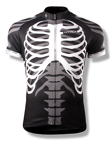 e26072a4b SPAKCT Men s Short Sleeve Cycling Jersey Skeleton Bike Jersey Top  Breathable Quick Dry Sports Polyester Mountain Bike MTB Road Bike Cycling  Clothing Apparel ...