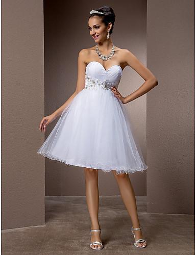 A-Şekilli / Prenses Kalp Yaka Diz Boyu Tül Boncuklama / Aplik / Haç ile Kıyafetli Gelinlikler tarafından LAN TING BRIDE® / Küçük Beyaz Elbiseler