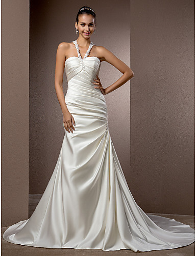 Mermaid / Trumpet Halter Neck Chapel Train Satin Made-To-Measure Wedding Dresses with Beading / Appliques / Side-Draped by LAN TING BRIDE®