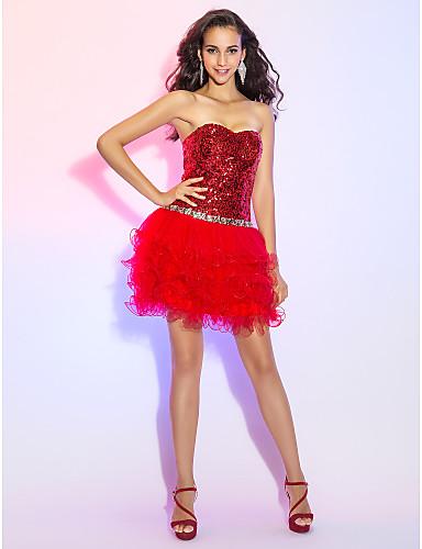 A-Linie Prinzessin Sweetheart Kurz / Mini Tüll Pailletten Cocktailparty / Abiball Kleid mit Paillette Kristall Verzierung durch TS