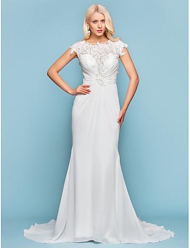 Trompeta / Sirena Joya Corte Raso Vestido de novia con Cuentas Apliques Recogido Lateral por LAN TING BRIDE®