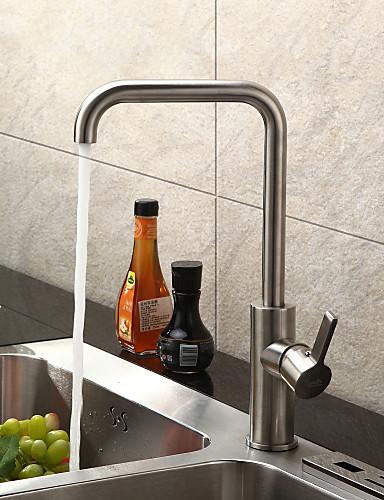 billige Sprinkle® LED Kraner-Lightinthrbox Sprinkle® Kjøkkenkraner - Moderne Børstet Senter-sett Et Hull / Rustfritt Stål