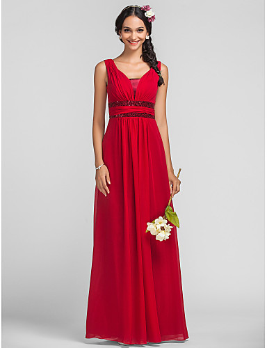 Sheath / Column Straps Floor Length Chiffon Sequined Bridesmaid Dress with Sequin Sash / Ribbon Ruched Side Draping by LAN TING BRIDE®