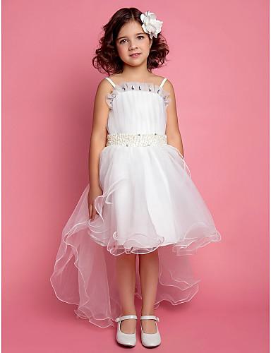 A-line principessa abito ragazza fiore lunghezza ginocchio - satin tulle sleeveless spaghetti cinghie con perla