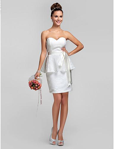 Tube / kolonne Kæreste Knælang Blondelukning Brudepigekjole med Blonde Bælte / bånd ved LAN TING BRIDE®