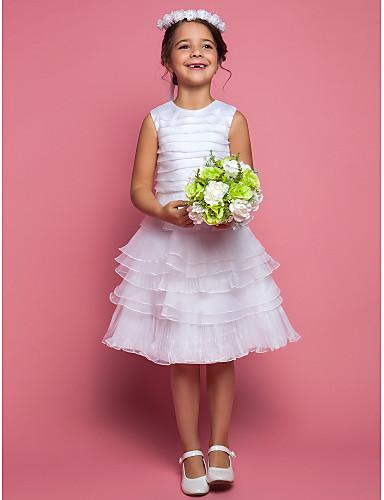 Plášť / sloupec čaj délka květina dívčí šaty - organza bez rukávů šperk krk s ruching lan ting bride®