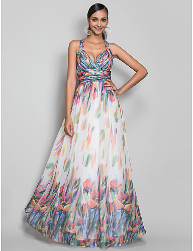 41c5ac0eb28 A-Line Princess Straps Floor Length Chiffon Formal Evening Military Ball  Dress with Draping Pattern   Print Ruched Criss Cross by TS 787682 2019 –   109.99