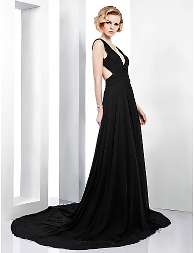 A-Line Plunging Neck Court Train Chiffon Beautiful Back Formal Evening Dress with Side Draping by TS Couture®