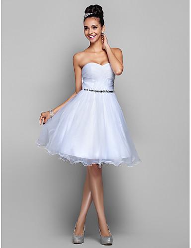 A-Şekilli Prenses Belden Oturan Kalp Yaka Diz Boyu Organze Haç ile Mezunlar Günü / Balo Elbise tarafından TS Couture®
