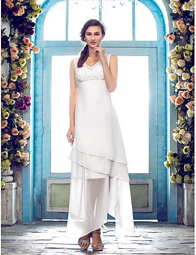 Sheath / Column V Neck Asymmetrical Chiffon Custom Wedding Dresses with Beading Appliques by LAN TING BRIDE®